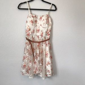 White floral summer dress with brown belt